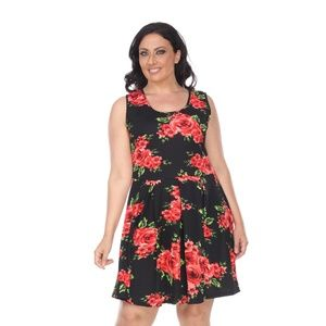 Plus Size Floral Print Dress fitted Midi ps826-181